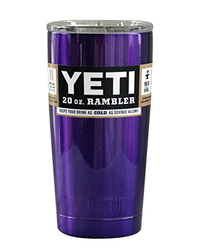 YETI Coolers Custom Powder Coated or Hydro Dipped Insulated Stainless Steel 20 Ounce (20 oz) (20oz) Rambler Travel Tumbler Cup Mug with Lid (Purple Metallic)
