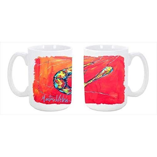 CoolCookware Shrimp Seafood Three Dishwasher Safe Microwavable Ceramic Coffee Mug 15 oz. from Cocobeen