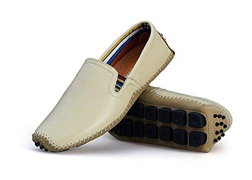 Noblespirit Hommes Conduite Chaussures En Cuir Mode Pantoufle Casual Slip Sur Mocassins Chaussures En Été Blanc 1