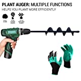 """1 Pcs Auger Drill Bit 3.2in x 11.8in(8 x 30cm) with 1 Pcs Garden Gloves Drill Bits Garden Spiral Hole Drill Planter Flower Bulb Auger Rapid Planter Earth Auger Bit Post or Umbrella Hole Digger for 3/8"""" Hex Drive Drill"""