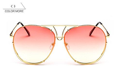 nuevo Rosa piloto gafas gafas sin reborde sobredimensionado claro sol mujer de sol amarillo plata bastidor mujeres azul oro grande Señoras de ZHANGYUSEN para de Rqxfzz