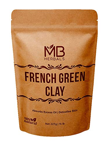 MB Herbals French Green Clay 227g | (8oz / Half Pound) | 100% Pure Montmorillonite Clay | Absorbs Excess Oil | Detoxifies Skin | Highly Recommended For Oily Skin