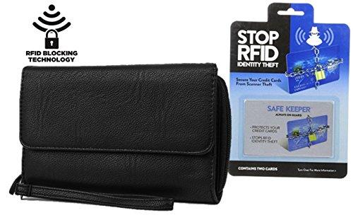 Mundi Womens Big Fat RFID Blocking Wallet Clutch With Bonus 2 RFID Blocking Card Sleeves (Black Wristlet)