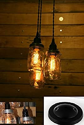 Three Ball Jar Chandelier Light - Jar Pendant Cluster - 3 Ball Jar Cluster - Built in the USA by Industrial Rewind