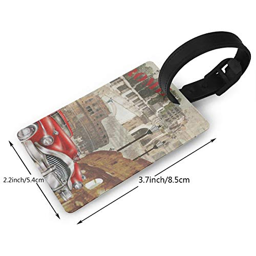 Luggage Tags Custom Vintage Rome Italy Red Car Cityscape PVC Suitcase Labels Travel Accessories ID Labels (1pcs)