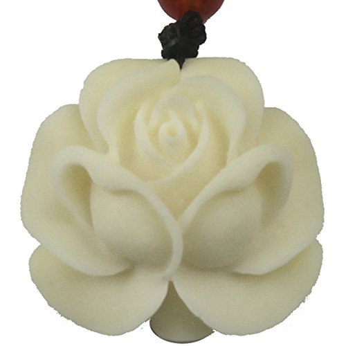 Chinese Feature / 12 Chinese Zodiac / Lucky God White Bone Carving Pendant (Rose)