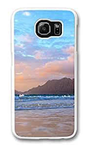VUTTOO Rugged Samsung Galaxy S6 Edge Case, Mountains Background Beach Waves PC Plastic Hard Case Cover for Samsung Galaxy S6 Edge PC White