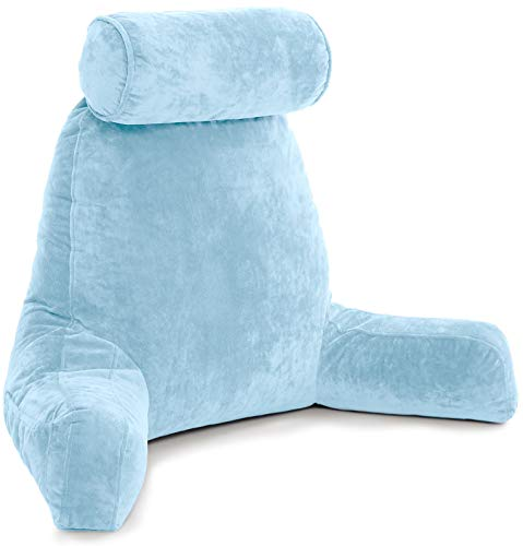 Husband Pillow - Sky Blue, Big Reading & Bed Rest Pillow with Arms - Sitting Up Tall - Premium Shredded Memory Foam, Detachable Neck Roll on Bungee, Removable Covers & Zipper for Adjustable Loft