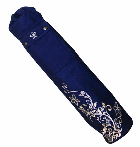 80 x 14.5cm Blue Wildflower Yoga Mat Bag by Yoga Mad