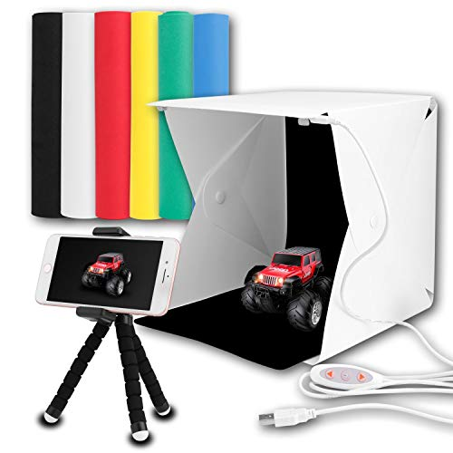 - Portable Photo Light Box Kits, Zenic Mini Folding Photography Studio Shooting Tent Kits with Cellphone Holder 6 PCS Backdrops for Photography