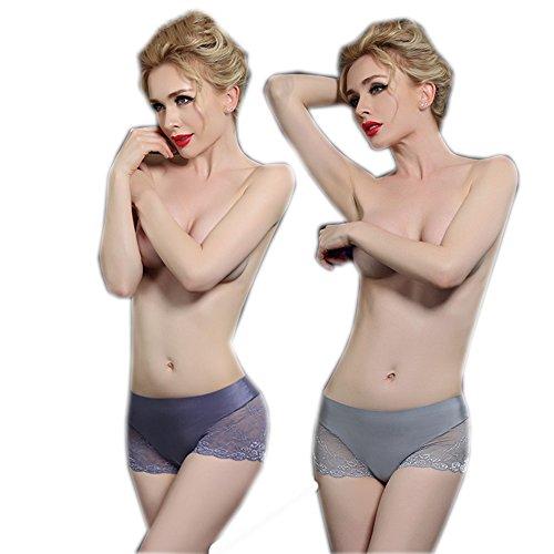 Ropa interior respirable de las señoras atractivas del algodón del cordón (2 cargadas) ( Color : 18 , Tamaño : XXL ) 1