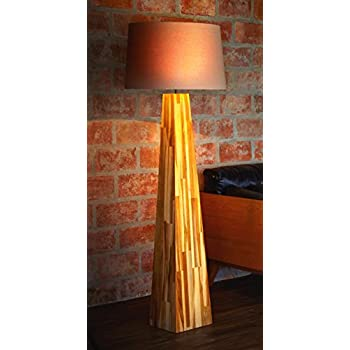 O Thentique Wooden Floor Lamp Teak Wood Mid Century