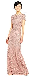 Antique Rose Colour Short-Sleeve All Over Sequin Gown