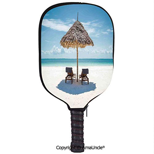 (SCOXIXI Customized Racket Cover, Stylish Wooden Sun Loungers Facing Eastern Ocean Under a Thatched Umbrella in ZanzibarRacket Cover,Protect Your Pickleball Paddles)