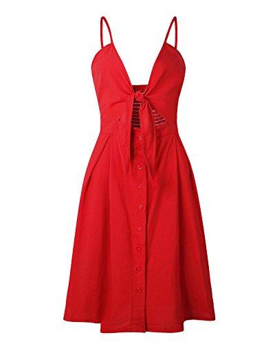 Swing Strap Dresses Down Button Spaghetti Women's Midi Dress Red Summer Bohemian Floral Pockets 8wnSqT