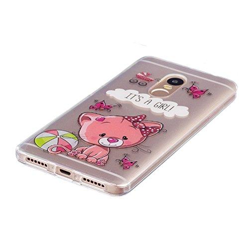 Funda Xiaomi Redmi Note 4 Alta Calidad Slicona Cáscara(con Gratis Lápiz óptico Negro),KaseHom Cristal Claro Prima Transparente Choque Absorción Protección Caja Suave Flexible TPU Parachoques Gel Estuc Gato y Mariposa Rosados