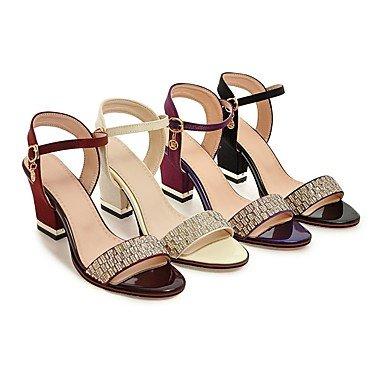 LvYuan Mujer-Tacón Robusto-Zapatos del club-Sandalias-Informal Fiesta y Noche Vestido-Semicuero-Negro Morado Rojo Beige Red