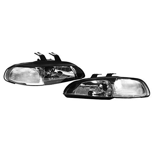 Jdm Clear Corner - 1 Piece Jdm Style Black Housing Clear Lens Corner Headlights Lamps For Honda Civic Coupe Hatchback 2 3 Door