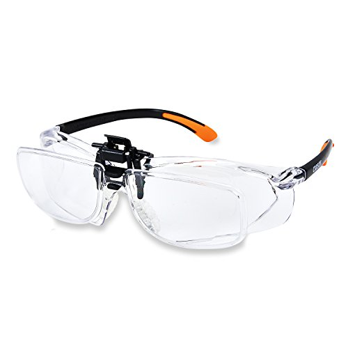 Carson Scratch Resistant Polycarbonate 1.5x Power (+2.5 Diopter) Protective Magnifying Safety Glasses with Clip-on, Flip-Up Lens System, Clear (VM-20)