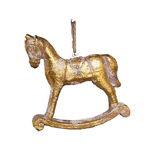 (Decorative Shabby Chic Christmas Rocking Horse Christmas Tree Decoration - Gold/White Wood Effect Resin -)