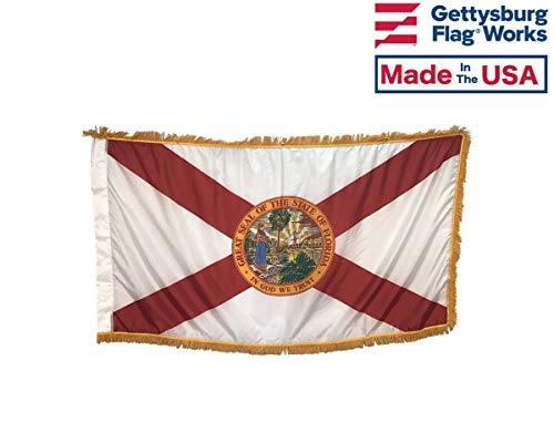 3x5' Florida Flag Indoor Flag with Pole Hem and Gold Ornamental Fringe ()