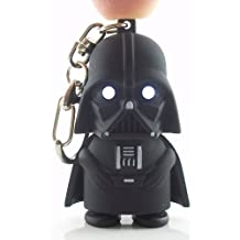 Darth Vader Light Up Key Chain – Tough Black Rubber Plastic Construction With Push Button Helmet to Activate Evil LED Eyes