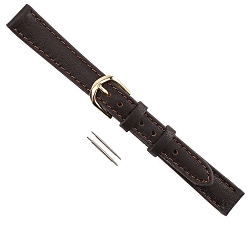 Mm Band 10 Watch (Watch Band Genuine Calfskin Stitched And Padded Leather Replacement Watchband Brown 10mm)