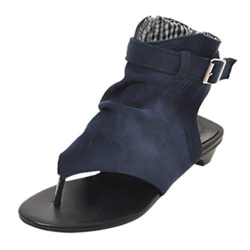 Price comparison product image Sunday88 Women's Hollow Rome Low Sandals Ankle Zip Breathable Open Toe Casual Shoes Blue
