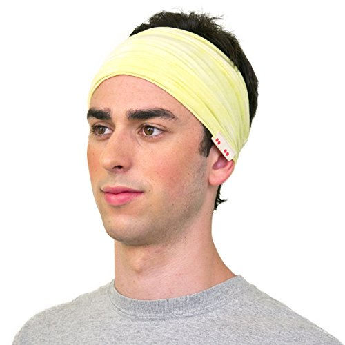 KOOSHOO Organic Blazing Yellow Headband For Men, Proudly Made in the USA. Hand Dyed by an Artist to be 100% Unique.