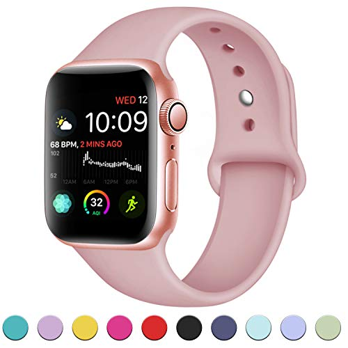 DaQin Bands Compatible with Apple Watch Band 38mm 40mm, Soft Silicone Sport Replacement Wristbands Strap for Apple iWatch Series 4, Series 3/2/1, Pink, S/M