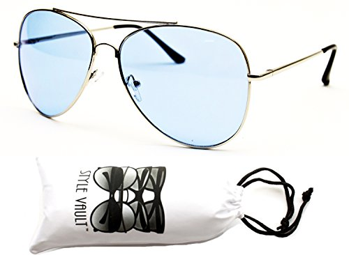 A67-vp Aviator Pilot Colored Lens Metal Sunglasses (AVCO Silver-blue, - Aviator School Old Sunglasses