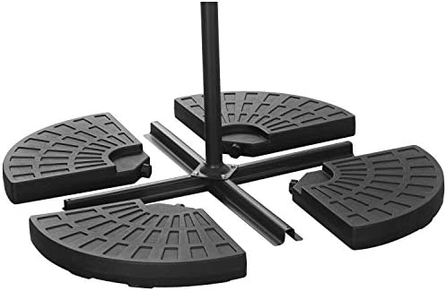 Outdoor Basic 4 Pieces Cantilever Offset Patio Umbrella Base Stand Easy Water or Sand Filled