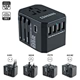 Worldwide Travel Adapter, COSOOS 2000W All in One Universal Wall Charger International AC Power Plug Multi-Outlets with 5.6A USB 3.0A Type-C Fast Charging Compatible USA EU UK AUS Cell Phone Laptop