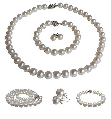 - Pearl Romance Round White Strand Pearl Necklace Bracelet Stud Earrings 3pc Set Genuine Cultured Freshwater 6mm 7mm 8mm 9mm 10mm 11mm (20, 7.0-7.5mm)
