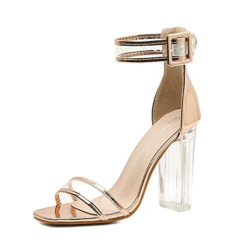 Zapatos de mujer Tacones altos de verano Cristal transparente simple con tacones altos Colorblock grueso con sandalias GAOLIXIA Gold