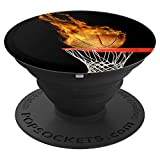 Hoop Swish Basketball on Fire Black Popsocket - PopSockets Grip and Stand for Phones and Tablets