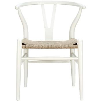 AmazoncomLexMod C24 Wishbone Chair in WhiteChairs