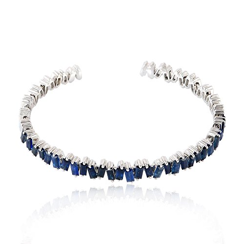 Mettlle 18K White Gold and Blue Sapphire Cuff Bangles - Baguette Blue Sapphire Bracelet