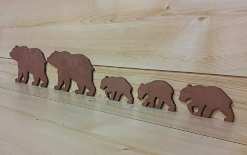 (Brown Bear Family - Bear Wall Art - Bear Woodwork - Wooden Bear Silhouette - Bear Family Art - Bear Family of 5 - Animal Art)