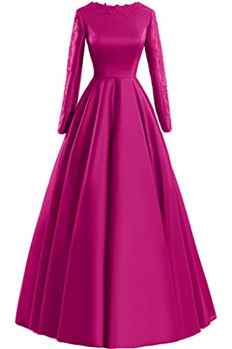 Sunvary pizzo A-line Scoop maniche lunghe, con scritta: Evening Dresses Party Gowns, rosa fucsia, 24W
