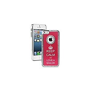 Apple iPhone 5c Red CS901 Rhinestone Crystal Bling Aluminum Plated Hard Case Cover Keep Calm and Love a Sailor Crown