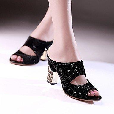 LvYuan Tacón Robusto-Zapatos del club-Sandalias-Fiesta y Noche Vestido Informal-Sintético-Negro Rojo Plata Oro Gold