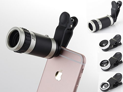 Juboury 4in1 8x Zoom Lens/Fisheyes/Macro and Wide Angle C...