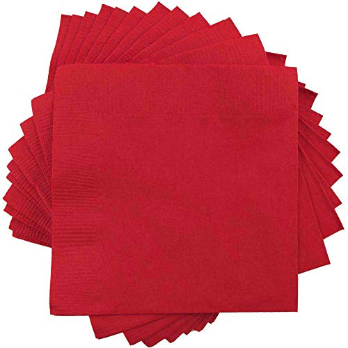 JAM PAPER Small Beverage Napkins - 5 x 5 - Red - -