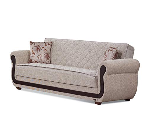 BEYAN Newark Collection Large Folding Sofa Sleeper Bed with Storage Space and Includes 2 Pillows, Light Brown (Newark Furniture Stores)