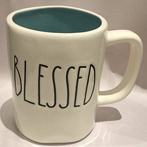 (Rae Dunn Artisan Collection Dishwasher Safe Coffee / Tea Mug BLESSED (Light Blue Interior))