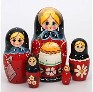 RED  /& BLACK 5 dolls in 1 BABUSHKA WOODEN DOLL