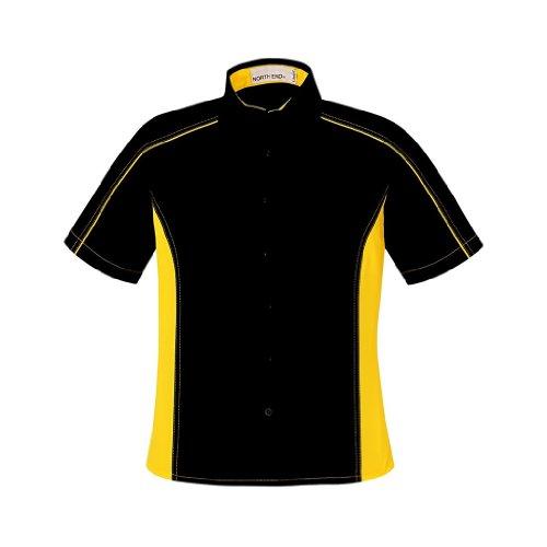 (Ash City Ladies Fuse Color Block Twill Shirt (Large, Black/Campus Gold))