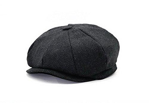 Classic Wool Ivy Cap (Men's Women's Classic Herringbone Tweed Wool Blend Newsboy Ivy Hat)