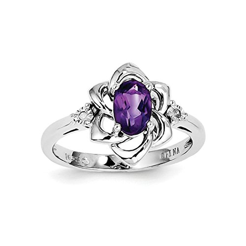 - ICE CARATS 925 Sterling Silver Diamond Purple Amethyst Band Ring Size 7.00 Gemstone Fine Jewelry Ideal Gifts For Women Gift Set From Heart